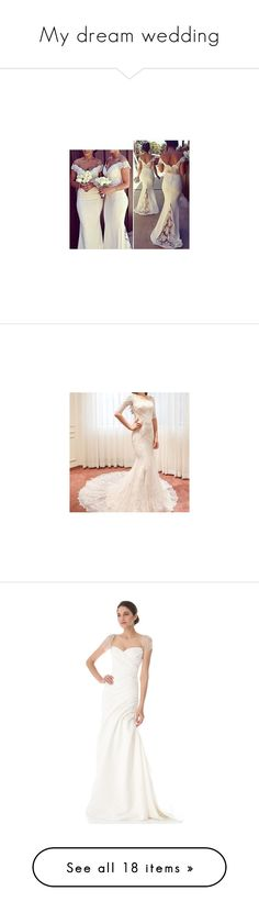 """""""My dream wedding"""" by nbrmacdonald ❤ liked on Polyvore featuring dresses, women, brown dress, lace insert dress, off shoulder dress, lace inset dress, lace panel dress, wedding dresses, gowns and wedding dress"""