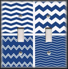 Switch Plate Cover - Chevron Set Navy Blue White - Home Decor / Nursery Decor  #LunaGallerySwitchPlates