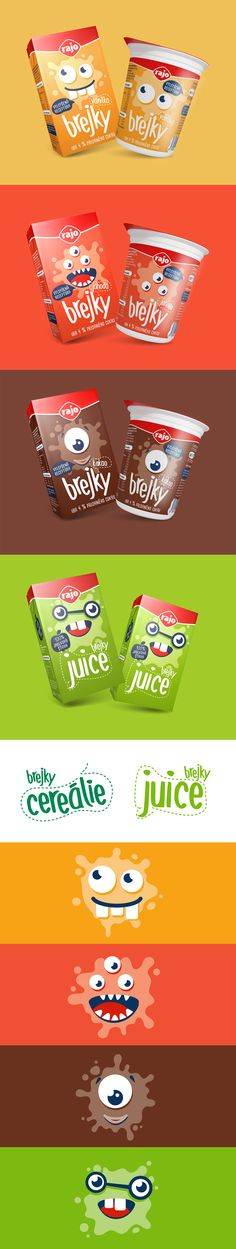 Branding identity for Brejky - Milk drinks, Juice  & Cereals for kids. Packaging design with little rascals