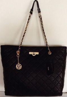 472d19d2d5d Dkny Donna Karan Quilted Nappa East/west Shopper Black Tote Handbag Purse