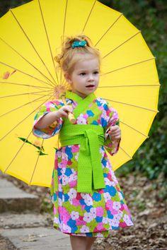 Kimono Dress in PANSY GARDEN  Yukata Modern Kimono Girls Baby Toddler