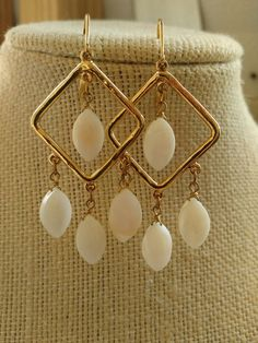 GORGEOUS MOTHER OF PEARL DANGLING EARRINGS ART DECO STYLE PIERCED GOLD WHITE | Jewelry & Watches, Vintage & Antique Jewelry, Costume | eBay!