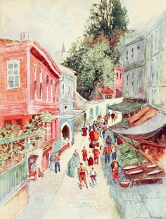 """'Street Scene, Top-Khaneh' from """"Constantinople painted by Warwick Goble"""" (1906)"""