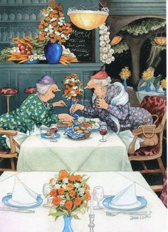 Wholesale Postcards of Inge Look, number 32 Old Lady Humor, Pics Art, Whimsical Art, Old Women, Getting Old, Alter, Illustrators, Cool Art, Illustration Art