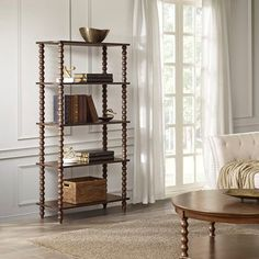 Beautify any space in your home with the grand presentation and utility of the Madison Park Signature Beckett Bookcase. This elegant bookcase features detailed spool legs and 4 open shelves for storing keepsakes, trinkets, books, and more. Coastal Furniture, Black Furniture, Shabby Chic Furniture, Living Room Furniture, Living Room Decor, 4 Shelf Bookcase, Wood Shelves, Bookcases, Floating Shelves