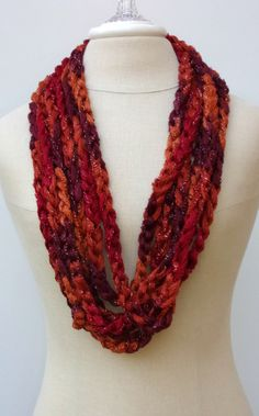 Salsa red burgundy orange Cowl loop rope by PurpleSageDesignz, $15.00