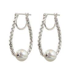 Honora Sterling Silver 9-10mm White Round Ringed Freshwater Cultured Pearl Block Metro Hoop Earrings