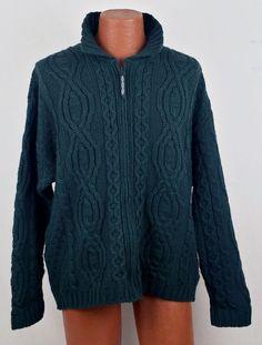 ARAN CRAFTS Green 100% Merino Wool Full Zip Cardigan SWEATER L Ireland EUC women #Arancrafts #FullZip
