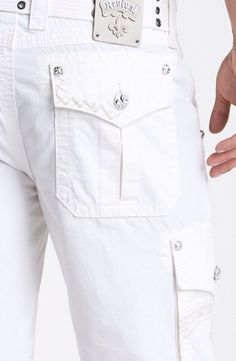 ROCK REVIVAL JEANS NWT/DEFECT Cheap Sale Mid White Linen Classic Cargo Shorts 40 #RockRevival #Cargo
