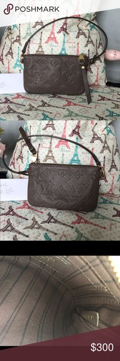 """Authentic Louis Vuitton Empreinte Pochette Overall good condition, clean throughout, hardware still shiny with minor scratches, only """"flaw"""" would be some corner wear (pictured) overall still in good condition, and looks great!! Comfortably fits all the essentials, ex. iPhone 7, cards, cash, etc. not accepting offers, firm price! Happy to post additional pics if needed Louis Vuitton Bags Clutches & Wristlets"""