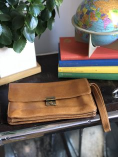 Excited to share this item from my #etsy shop: Vintage leather wristlet with lock and key / travel bag / organizer leather purse Diy Projects For Beginners, Fun Hobbies, Shopping Day, Quality Time, Vintage Leather, Travel Bag, Leather Purses, Satchel, Key