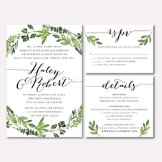 This listing is for a ready-to-print, personalized, digital wedding invitation suite with a water-colored botanical wreath design in high