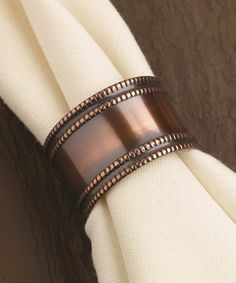 Design Imports Antique Copper Napkin Ring Set Of Four