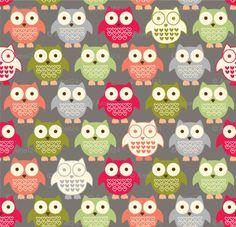 A wonderful owl fabric!  Loving the grey background.