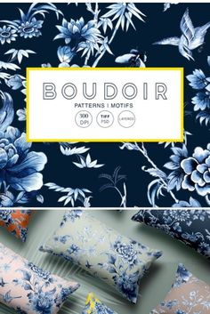Boudoir, Elegant yet bold indigo chinoiserie design, hand painted watercolor with exquisite elements and developed into seamless repeat pattern against a number of base colors, perfectly suitable a variety of products from wallpapers to textiles and paper products.