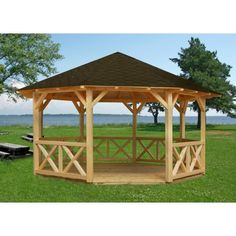 Gazebo kit Joanna on sale on BZB Cabins. All of our gazebo kits are designed for do-it-yourself assembly that can typically be completed in a day or two. Diy Gazebo, Wooden Gazebo, Gazebo Plans, Backyard Gazebo, Outdoor Pergola, Pergola Kits, Outdoor Rooms, Outdoor Gardens, Outdoor Living