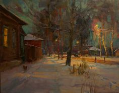 At The Street Light. New Year's Eve Encounter - oil, canvas http://www.russianfineart.com/catalog/prod.php?productid=22408 Master: Izum