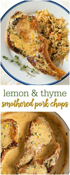Creamy Lemon & Thyme Smothered Pork Chops - a delicious and flavorful pork chop recipe that always gets rave reviews and is perfect for holidays!