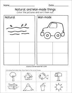 Natural Resources And Man Made Things Worksheets For Preschools Social Studies Worksheets Kindergarten Social Studies First Grade Science