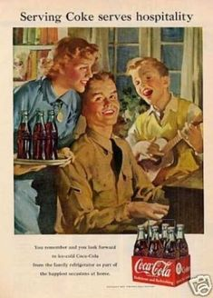 """Coca-cola Ad """"Serving Coke Serves... (1951)  Coke goes to war again in the 50s."""