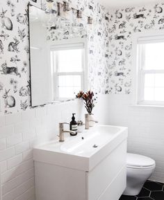 SHOP THE LOOK - Wallpaper Minimal Anthropologie, all white clean home decor bathroom ideas and decoration Long Narrow Bathroom, Small Bathroom, Bathroom Ideas, Bathroom Designs, Downstairs Bathroom, Look Wallpaper, Bathroom Wallpaper 2019, Modern Vanity, Bathroom Renovations