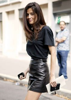 gorgeous leather skirt and simple top combination yes please !!!