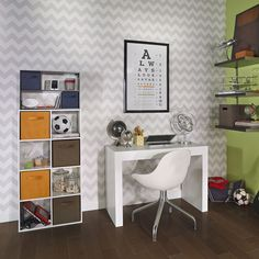 The spring semester is coming, and so is school-related clutter! Give papers, pens and other supplies a catch-all place with cube storage. #Homeschool #HomeworkStation #KidsStorage Kids Storage, Cube Storage, 8 Cube Organizer, Fabric Drawers, Homework Station, Room Colors, Clutter, Pens, Office Desk