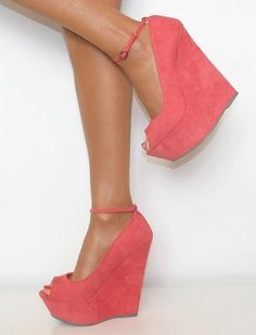 Koi Couture Coral Candy Pink Platform Peep Toe High Wedge Heels
