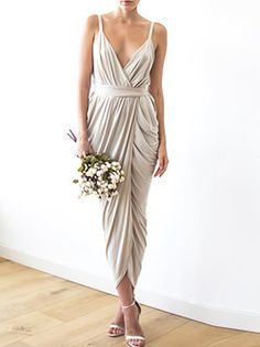 Champagne maxi tulip wrap dress