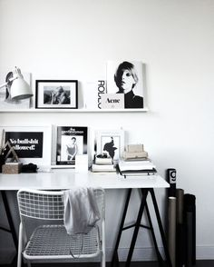 Kultstatus | A C C O U T E R M E N T White decor writing nook white table and white wire metal chair lamp framed prints inspiration