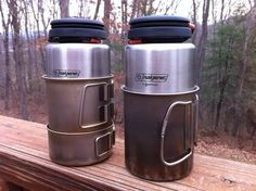 Snow Peak Mini-Solo on left and the Snow Peak 700 on right. The Nalgene - One Litre Wide-Mouth Stainless Steel fits inside both perfectly.