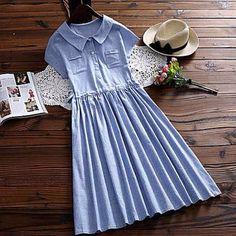 Хлопковое платье длины миди в наличии в голубую и бежевую полоски2500 руб фри сайз