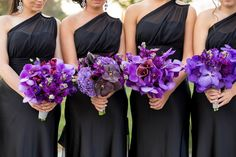 purple bridal bouquets orchids black bridesmaids dresses...These are the bouquets I want for my girls!!!