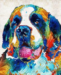 #saintbernard #dogs Saint Bernard Art PRINT Colorful Dog by BuyArtSharonCummings