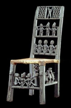 Africa | Chair From The Chokwe People Of Kasai, DR Congo | Wood And Animal