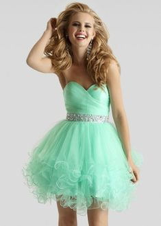 Short mint green prom dress