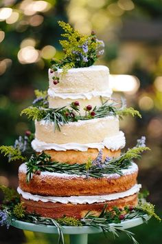 Multi-layered naked wedding cake with greeneries all over it.
