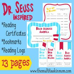 FREE fun Dr Seuss inspired reading supplies.