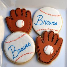 Baseball cookies with team name on the center - cute