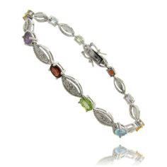Silver Overlay Multi Gemstone and Diamond Accent Marquise Design Bracelet LEAH HANNA. $19.99. Secures with a Box Clasp. Crafted of Highly Polished Silver Overlay. Beautiful Bracelet Suitable for all Occasions