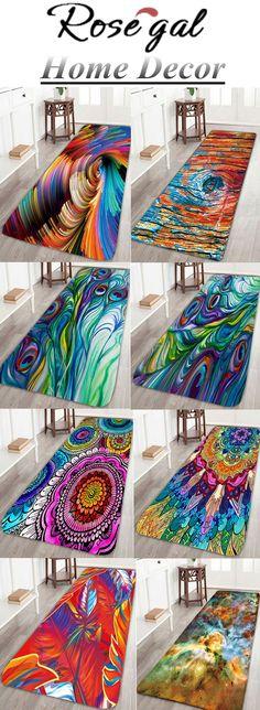 Free shipping worldwide.Skidproof Coral Fleece Peacock Feather Bath Rug. #bathrug #mats #bedroom #bathroom #living room #home decor
