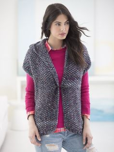 Powder Ridge Hooded Vest (Knit) - Lion Brand Yarn