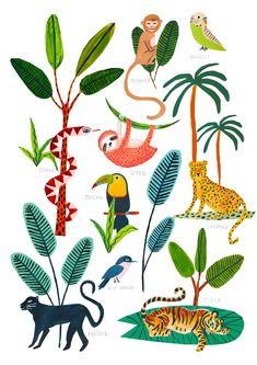 Jungle Animals Print /Botanical Illustration / Tropical / Safari / Botanical Print / Home Decor / Nursery Wall Art/Nursery Decor/Sloth/Snake – illustration – Natur Jungle Drawing, Jungle Art, Jungle Animals, Vintage Wallpaper, Wallpaper Free, Plant Wallpaper, Jungle Pattern, Art And Illustration, Illustration Animals
