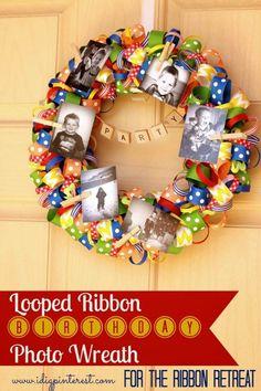 Love this!  Looped Ribbon Birthday Photo Wreath - The Ribbon Retreat Blog