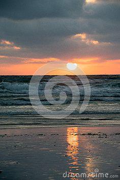 Sunset over Polzeath beach North Cornwall