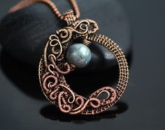 Labradorite necklace half moon pendant wire wrapped necklace copper wire jewelry blue labradorite mystical mystic Islamic jewelry designer by OrioleStudio on Etsy https://www.etsy.com/listing/258963978/labradorite-necklace-half-moon-pendant