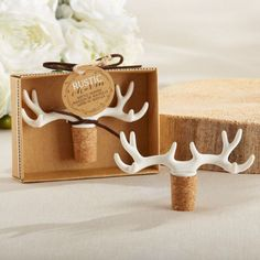 From the hunting lodge to the reception hall, Rustic Charm Antler Bottle Stopper should be placed at the table! The cork bottle stopper is topped with resin antlers. Place them at reception tables for. Country Wedding Favors, Best Wedding Favors, Wedding Decor, Wedding Ideas, Wedding Invitations, Yard Wedding, Invitation Envelopes, Wedding Stuff, Wedding Flowers