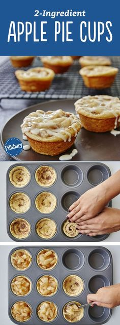 Yes, you can make tasty apple pie cups with just two ingredients! All you need is a can of Pillsbury™ refrigerated cinnamon rolls and some apple pie filling for an easy fall-inspired treat that serves (Apple Recipes Muffins) Mini Desserts, Easy Desserts, Delicious Desserts, Dessert Recipes, Yummy Food, Quick Dessert, Cinnamon Desserts, Vegan Desserts, Swiss Desserts