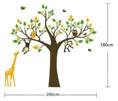 Cute Zoo Owl Wall Sticker Monkey Playing on Tree Branch with Giraffe Nursery Wall Decal (Medium) Cheap Wall Decals, Owl Wall Decals, Nursery Wall Stickers, Baby Room Diy, Baby Nursery Decor, Baby Decor, Bird Nursery, Baby Rooms, Nursery Room