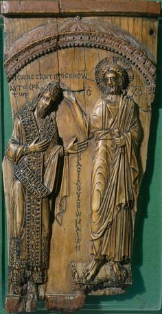 Byzantine master of the tenth century, Christ Blessing Emperor Constantine VII Porphyrogenitus, About ivory. The Pushkin Museum of Fine Arts Museum Of Fine Arts, Art Museum, Constantine The Great, Byzantine Art, Dark Ages, Ivoire, French Art, Gcse Art, Popular Culture